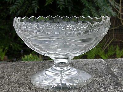 Antique Georgian Early Victorian English Irish Heavy Cut Glass Pedestal Dish
