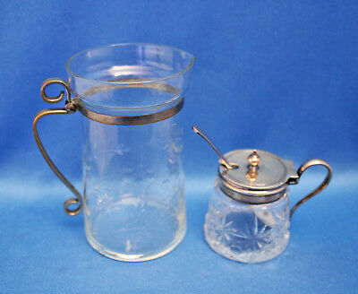 Vtg mixed lot ETCHED CREAMER, HAND CUT CRYSTAL MUSTARD POT EPNS + Sterling SPOON