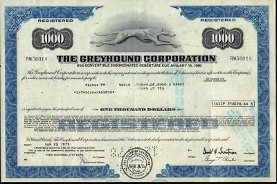 The Greyhound Corporation old bond certificate iss Joseph de Muro & Harry Stern