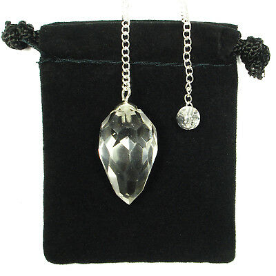 PENDULUM - CLEAR QUARTZ Multi Faceted Crystal Stone w/Pouch & Description Card