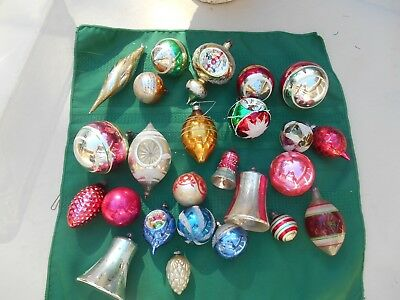 Lot Of 28 Vintage Glass Christmas Ornaments Indents Glitter Oblong