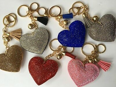 Heart Key Chain Tassel Gold Key Holder Metal Crystal Charm Bag Auto Pendant