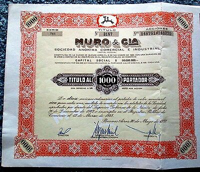 Wall and Company Muro & Cia Stock Certificate Buenos Aires  Argentina 1978 t3u