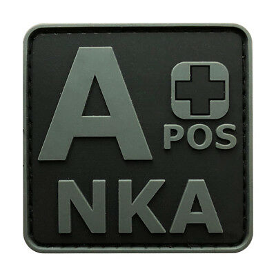 Blood Type A + Positive NKA ACU Hook Patch [3D-PVC Rubber-2.0 X 2.0 inch -BP2]
