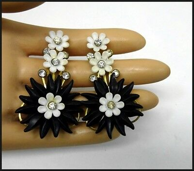 Vintage Black & White Plastic Climber Clip Back Earrings w Crystal Rhinestone s
