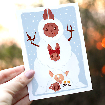 10 Bunny A6 Christmas cards envelopes Cute greeting cards pack