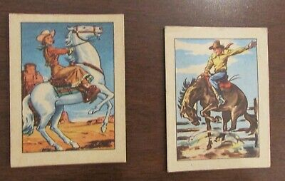 (2) 1951 Post Cereal Hopalong Cassidy CArds #28 Cowgirl #5 Bucking Bronco