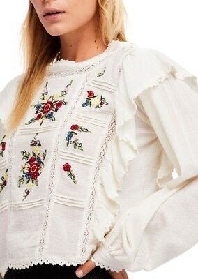 a1152627c5aebb NWT Free People The Amy Top Floral Embroidered Romantic Blouse Shirt Cream  S M