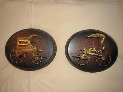 Home Decor Wall Art Pair of Metal Horse Drawn Carriages on Wooden Plaques