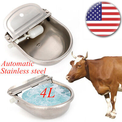 4L Automatic Stainless Steel Water Bowl Trough for Horse Dog Cattle Goat Sheep