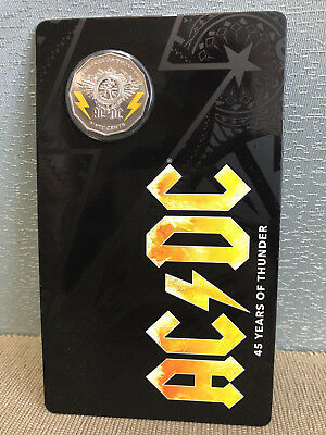 Brand New Uncirculated Royal Australian Mint 2018 AC/DC 45 Years 50 Cent Coin