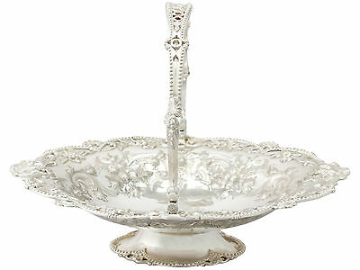 1870s Victorian Sterling Silver Swing Handled Basket by Martin Hall & Co 840g