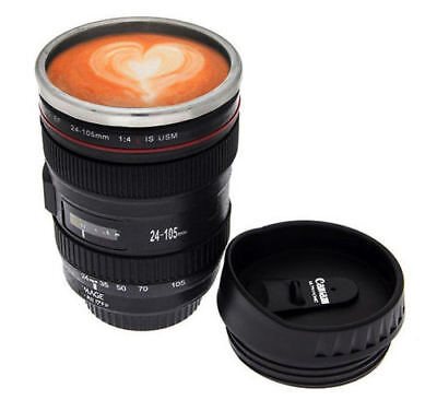 Travel Coffee Mug Cup 400ml Thermos Stainless Steel Canon Camera Lens With Lid