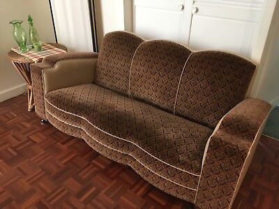 Club Lounge Suite c.1930s. Reupholstered in beautiful fabric...