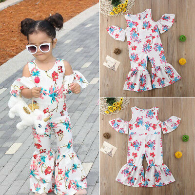 8a3bdff3f2d US Kids Baby Girl Off shoulder Floral Romper Jumpsuits Trousers Outfit  Clothes