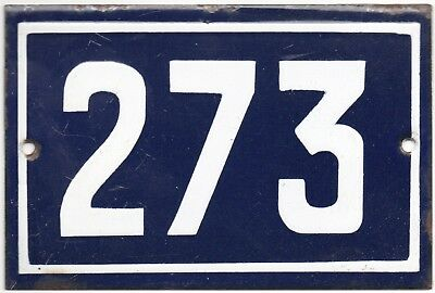 Old blue French house number 273 door gate plate plaque enamel steel metal sign