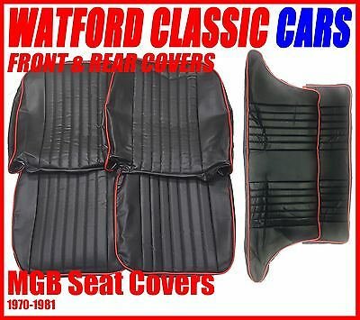 MGB GT Front and Rear Seat Covers 1972 -1981 Black with Red Piping