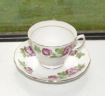 Royal Vale Bone China England 1 x Cup and Saucer Pink Roses Pattern 7201