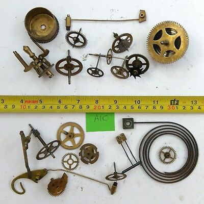 Job Lot Vintage Brass Clock Parts Cogs Gears etc, Steampunk Craft Spares - 400g