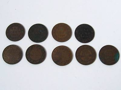Lot of 9 Canada Large Cent 1903 1907 1910 1913 1914 1917 1918 Antique Coin