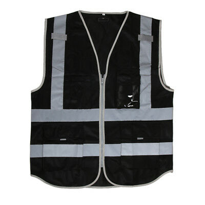 Hi-Visibility Safety Vest Zipper Reflective Tape Jacket Waistcoat Black