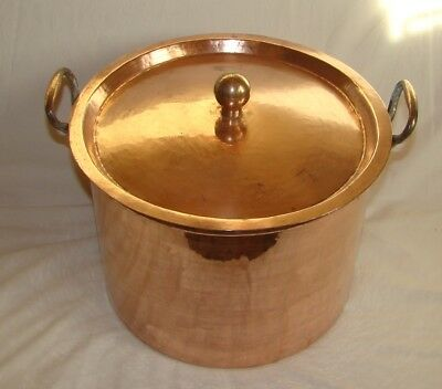Beautiful antique French copper/brass STEWPAN / MARMIT 1890 hammered/dovetailed