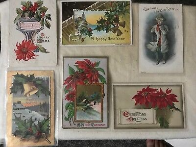 13 New Year Christmas Antique Postcards Early 1900s Greetings Vintage Holiday