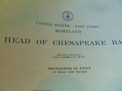 "Waterways Head of Chesapeake Bay 1964 US Coast Guard 36"" x 45"" nautical chart"
