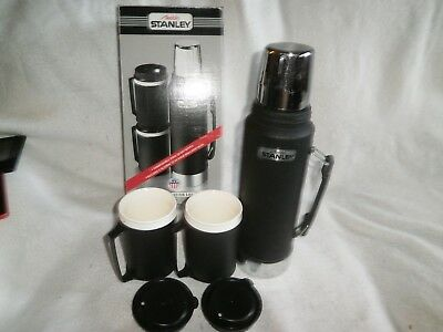 Vintage Aladdin Stanley Black Steel Lunch Thermos No A-944DH plus 2 cups