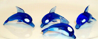 Dolphin BLUE/WHITE MINI 201 ArtGlass hand-crafted SHORT dorsal fin 6 pc. lot