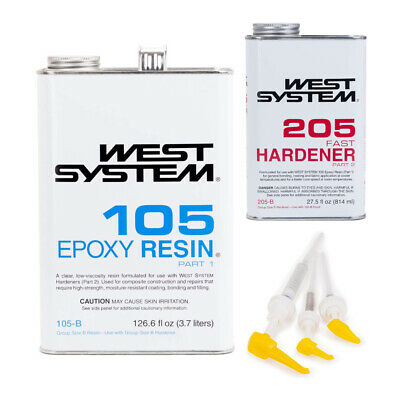 West System 105-B Epoxy Resin with 205-B Fast Epoxy Hardener and Mini Pump Set