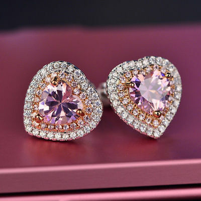 Delicated 2.20Ct Heart Cut Pink Diamond Stud Halo Earrings 14K White Gold Finish