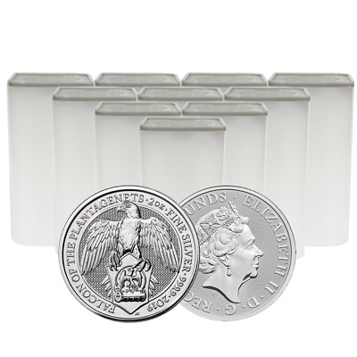 Lot of 100 - 2019 U.K. 5 Pound Silver Queen's Beast Falcon .9999 2 oz BU