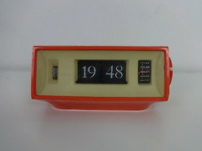 Vintage Flip Clock Copal 701 Orange Mains Alarm Clock 60's Retro Made In Japan
