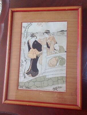 Antique Print of a KIYONAGA Japanese Woodblock Two Women Bridge w/ Children