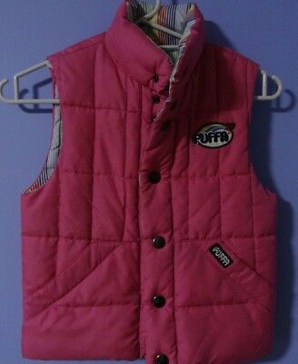 Girls PUFFA reversable body warmer age 9-10 in VGC - Pink/Candy Stripe size JS
