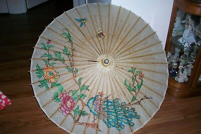 "Vintage Asian Bamboo Rice Oil Paper Umbrella Parasol 24"" Wide"