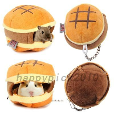 Pet Animal Hamster Hamburger Cage Hanging Portable Nest Home Mouse Gerbils House