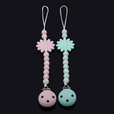 Flower Wood Beads Chain Teether Pacifier Clip Infant Baby Soother Teething Toy S