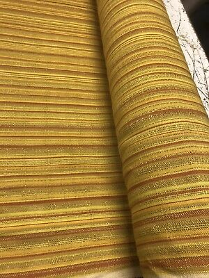 "Vintage 1960's-70's Drapery Fabric Striped Orange Red MCM 48"" Wide X 1 Yard"