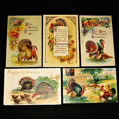 Lot of 5 antique German THANKSGIVING postcards ~ TURKEYS ~ embossed & posted