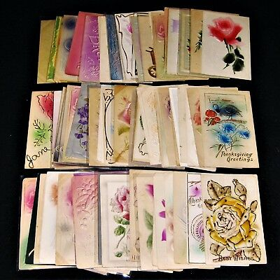 Huge Lot of 70 Rare, Vintage & Antique Heavy Embossed Airbrush Painted Postcards