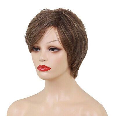 Fluffy Short 100% Real Human Hair Wigs with Cap Heat Resistant Brown