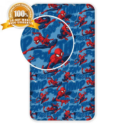 Jerry Fabrics Spiderman Kids Fitted Sheets, Cotton, Multi-Colour, Single