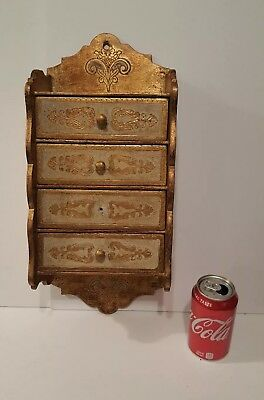 Vintage Florentine Italy Toleware LARGE Wooden 4 Drawer Wall Chest White Gold