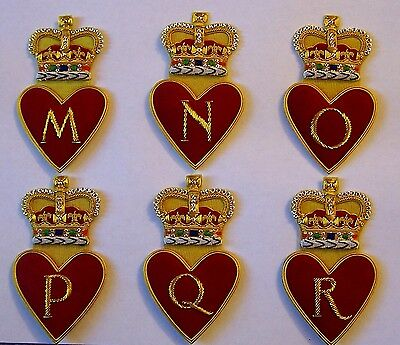 Royal Family Name Letter Valentine Love Wedding Heart Crown M N O P Q R Patch XO