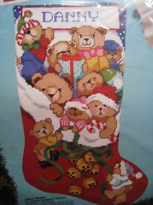 Christmas Holiday Bucilla Needlepoint Stocking Kit,JINGLE BEARS,Gillum,60706,18""