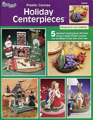 Holiday Centerpieces ~ Bunnies Santa Haunted House &More plastic canvas patterns