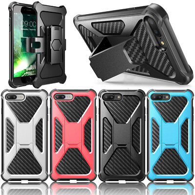 Shockproof Kickstand Armor Case Cover With Belt Clip For Apple iPhone X 7 8 Plus