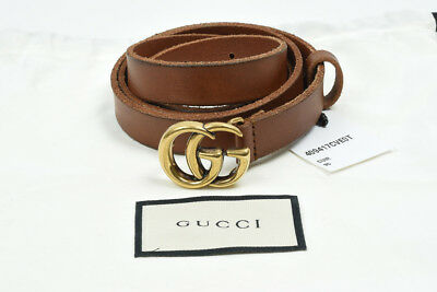 d2425b0385a Gucci cuir brown 38 M 95 leather double interlock GG buckle skinny belt NEW   350